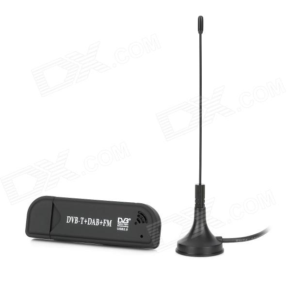 RTL2832U + FC0012 Mini DVB-T + DAB+ + FM USB Digital TV Dongle - Black