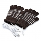 Stylish USB Heated Warm Gloves - Coffee (Pair)
