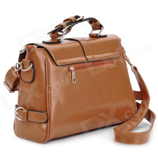 249c4d7fe404 ... Fashionable Retro PU Leather One Shoulder Messenger Bag for Women -  Brown (120cm-Strap ...