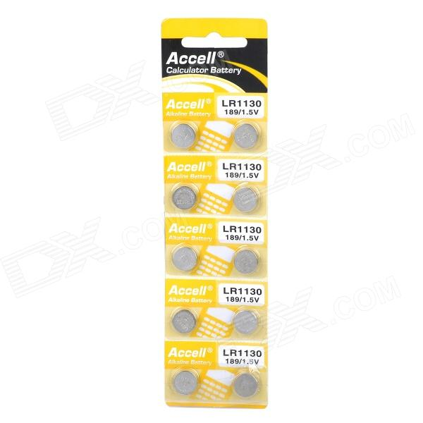 Accell AG10 / LR1130 / 189 1.5V Alkaline Cell Button Battery (10PCS)