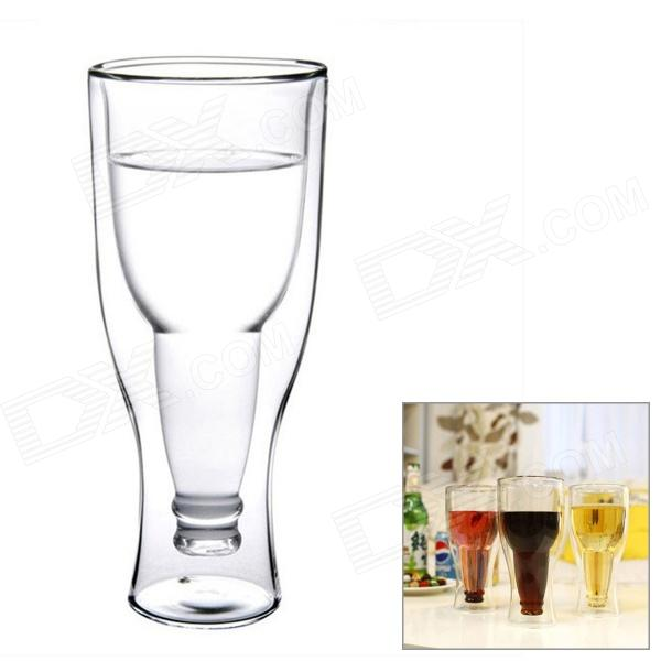 Double Walled Upside Down Beer Bottle Style Glass Cup - Transparent