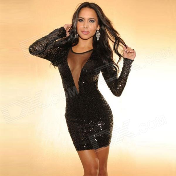 Sexy Tight Fashion Sleeveless Deep V Collar Hollow-Out Sequin Lace ... 9b8fd98834