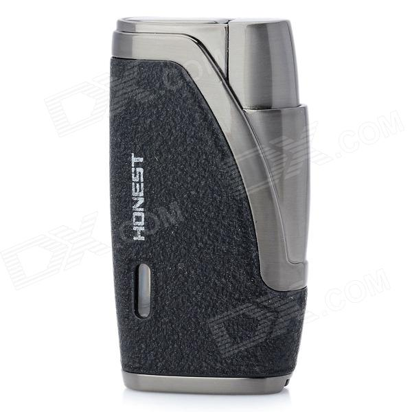 Dual Flame Wind Proof Butane Gas Lighter - Grey + BlackButane Jet Lighters<br>Model1Quantity1 piece(s) per packColorGrey + BlackMaterialStainless steelStyleGasFlame ColorBlueFuelButaneWindproofYesSpecificationDual flame,Wind proof, great for outdoor usePacking List1 x Lighter<br>