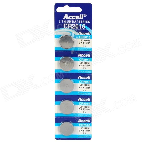 Accell 90mAh CR2016 3V Lithium Cell Button Battery (5PCS)