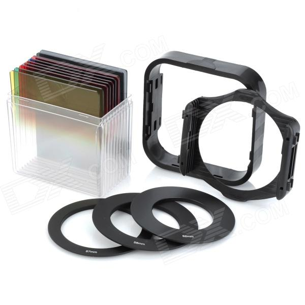 10-in-1 Gradient Yellow / Green / Red Filters w/ Lens Adapter / Hood / Support - Black (10 PCS)Lenses Accessories<br>ModelsUniversalFunctionsControlForm  ColorBlackMaterialABSQuantity10ColorBlackMaterialABSOther FeaturesPerfectPacking List<br>
