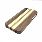 Vertical Stripes Design Protective Detachable Wooden Back Case for Iphone 5 - Brown