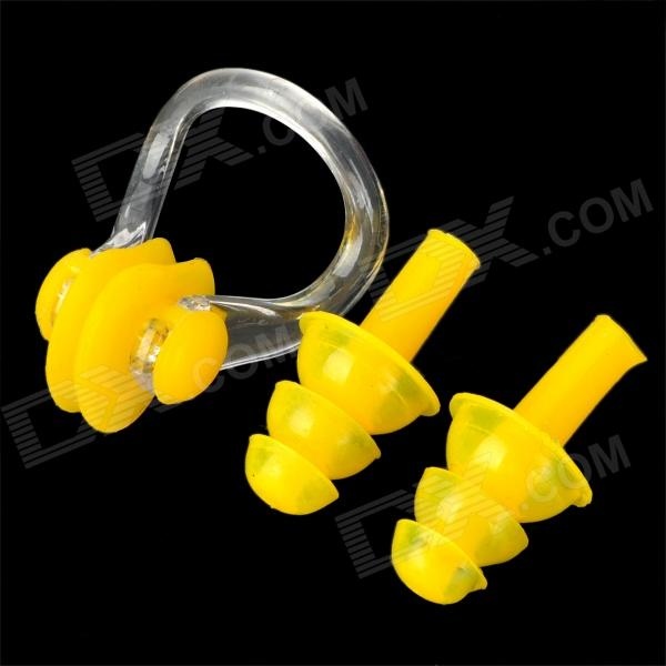 Swimming Silicone Ear Plugs + Nose Clip Set - YellowQuantity1ColorYellowMaterialSiliconeOtherForm  ColorYellowMaterialSiliconeOtherFrame ColorYellowLens ColorYellowOther FeaturesKeepPacking List<br>
