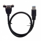 CY-035 U3 USB 3.0 macho a hembra Cable w / Screw Holes - Negro (50cm)