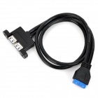 CY U3-043 USB 3.0 20-Pin Header to 2-Port USB 3.0 Type-A Female Converter Cable - Black (50cm)