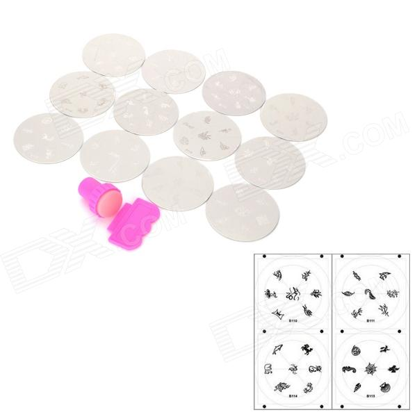 ASN-104115 Nail Art DIY Print Pattern Manicure Machine Stamper Set - Silver + RedNail Care and Art<br>ModelASNForm  ColorRedMaterialSteelQuantity1FunctionsApplyPacking List<br>