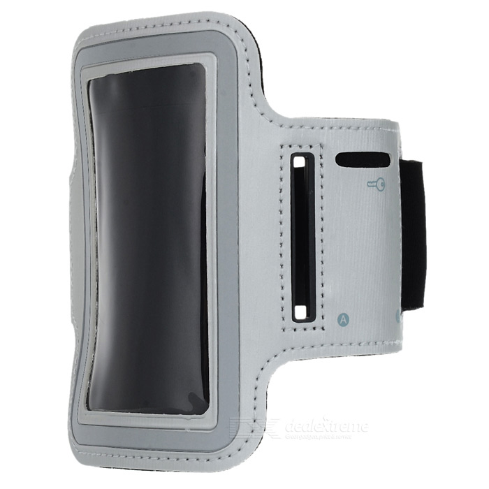 Sporting Outdoor PU Leather + Neoprene Armband for Iphone 4 / 4S / 5 - Light Grey + Black