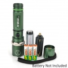 250lm 3-Mode White Zooming Flashlight w/ Crown Head - Green (1 x 18650 / 3 x AAA)