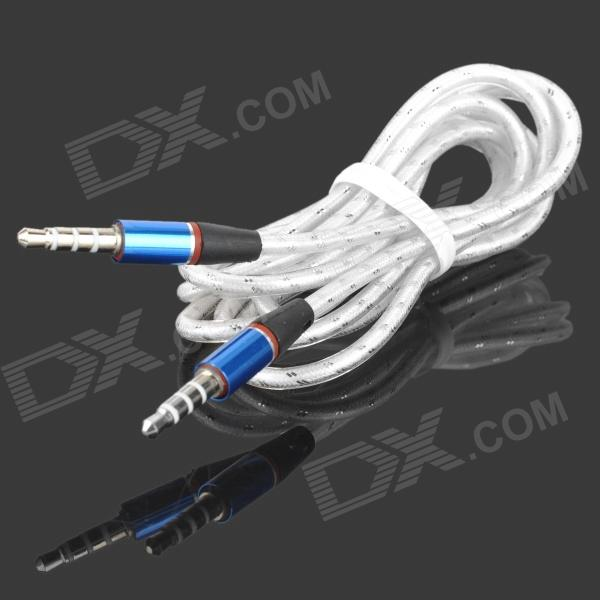 Buy 3.5mm Male to Male Audio Cable - White + Blue + Silver (1.2m) with Litecoins with Free Shipping on Gipsybee.com