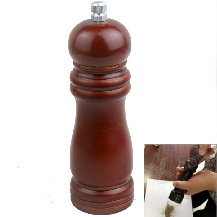Classical Wooden Manual Pepper Spice Mill Grinder Muller - Brown