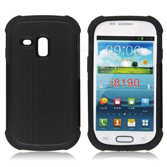 Buy Protective Silicone + PC Back Case for Samsung Galaxy SIII Mini - Black with Litecoins with Free Shipping on Gipsybee.com