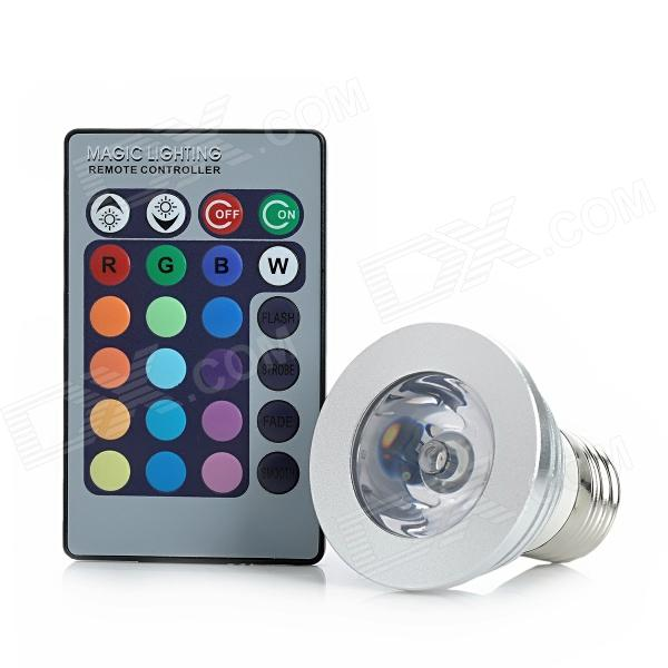 Buy E27 180lm 3W 265V RGB Light LED Spotlight w/ Remote Control - Silver (85~265V) with Litecoins with Free Shipping on Gipsybee.com