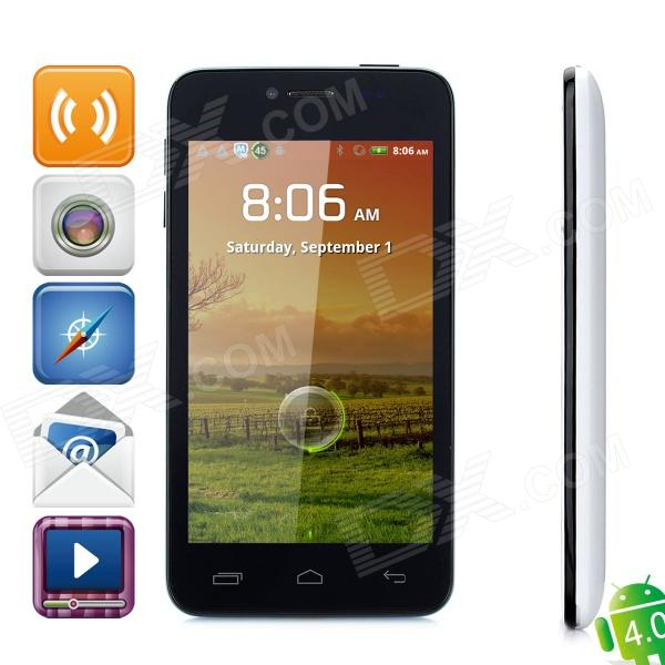 "T6198 Android 2.3 GSM Bar Phone w/ 4.3"" Capacitive Screen, Dual-Band, Wi-Fi and Dual-SIM - White"