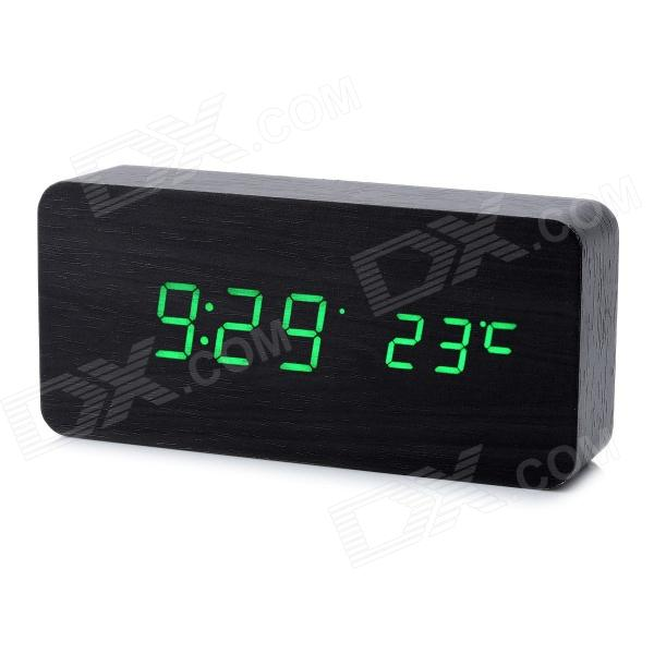 Cool Wooden Desk Alarm Clock w/ Temperature Display - Black (4 x AAA)