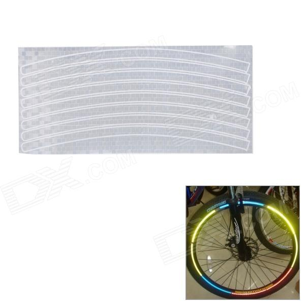 Bike Bicycle Reflective Wheel Rim Stripe Sticker - SilverBike Accessories<br>Model40801Quantity1ColorSilverMaterialReflectiveQuantity1ColorSilverMaterialReflectiveForm  ColorSilverMaterialReflectiveWaterproofYesBest UseCyclingOther FeaturesBeforePacking List<br>