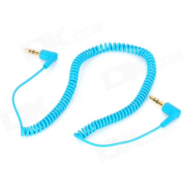 3.5mm Male to Male Stereo Audio Coiled Cable - Light Blue (154cm)