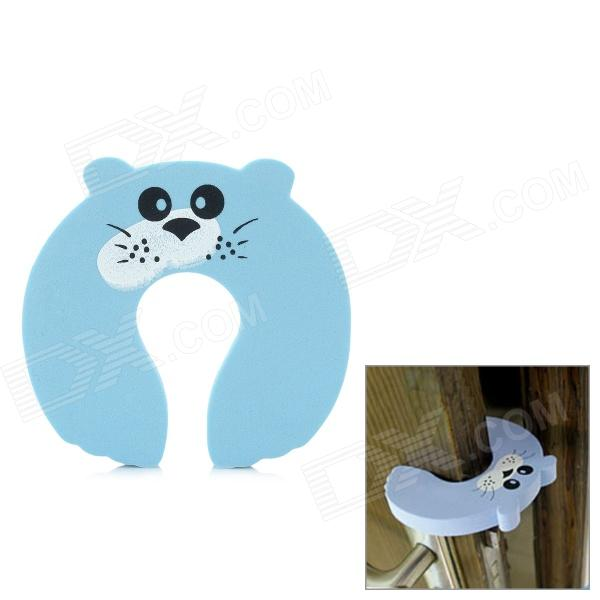 Bebé lindo de la historieta Safety Door Stopper Finger Pinch Guard - Azul claro