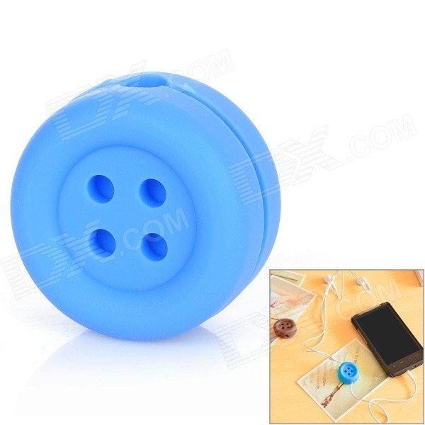 05142 Creative Cute Button Style Earphone / Wire Winder - BlueOther Gadgets<br>Model5142Quantity1Quantity1MaterialSiliconeCompatibleForm  ColorBlueFeaturesCuteOther FeaturesCutePacking List<br>