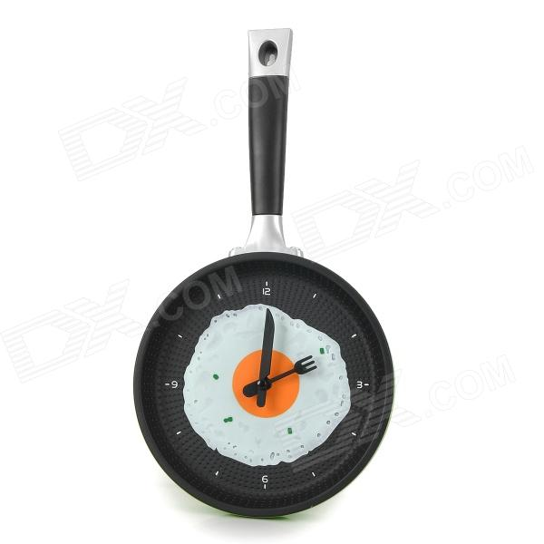 Buy Creative Frying Egg Pan Style Wall Clock - Green + Black with Litecoins with Free Shipping on Gipsybee.com