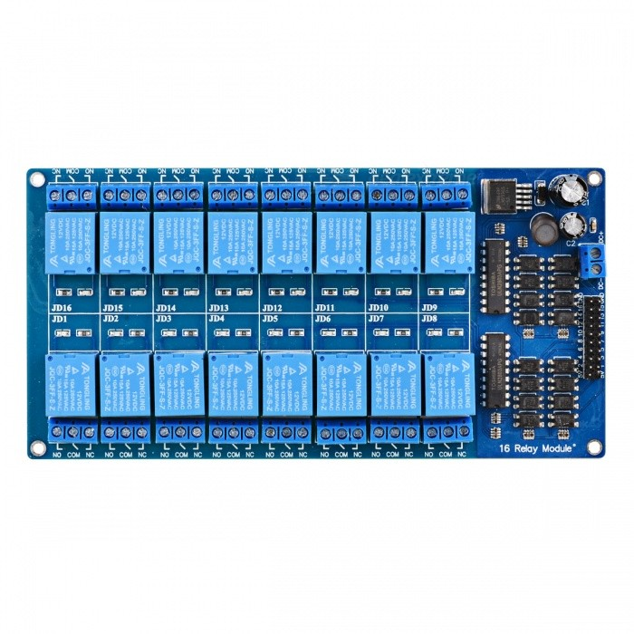 Buy 7034 16-Channel 12V Relay Module Board W/ Power LM2576 / Optocoupler Protection - Blue with Litecoins with Free Shipping on Gipsybee.com
