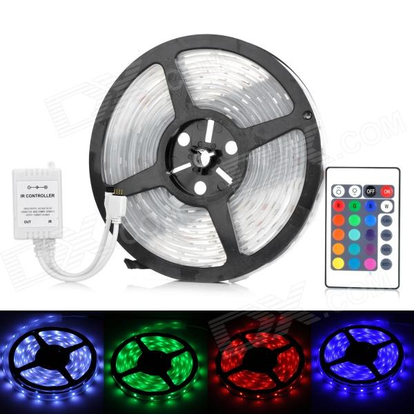 36W 1800lm 150-SMD 5050 LED RGB Car Decoration Light Strip w/ Controller (12V / 5m)5050 SMD Strips<br>MaterialSiliconeEmitterForm  ColorWhiteQuantity1PowerOthersChip BrandOthersEmitter Type5050 SMD LEDTotal Emitters150LightColor BINRedWavelengthBluePower AdapterOthersPacking List<br>