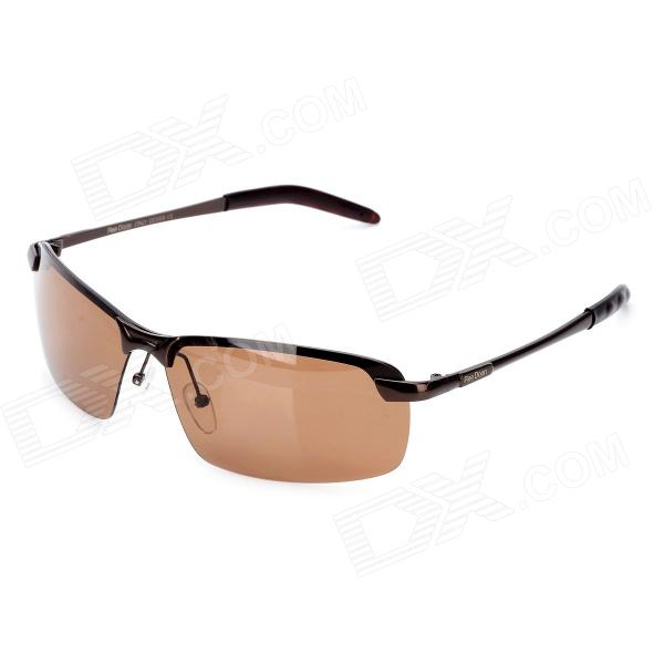 Buy ReeDoon R3043 Magaluma Frame Resin Polarized Lens UV400 Protection Sunglasses - Tan + Bronze with Litecoins with Free Shipping on Gipsybee.com