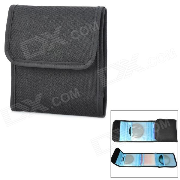 Buy Square 3-Pocket Mutispandex Bag for 49mm~82mm UV Protective Lens - Black with Litecoins with Free Shipping on Gipsybee.com