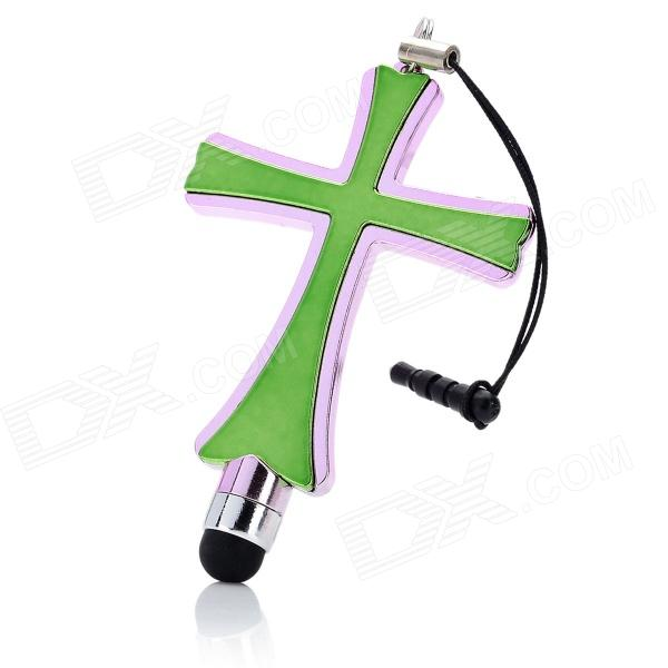 SH-35 Cross Shaped Capacitive Screen Stylus w/ 3.5mm Anti-Dust Plug - Green + Pink