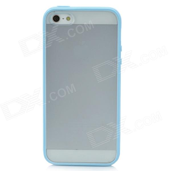 Protective Frosted Plastic Back Case for Iphone 5 - Translucent + Light Blue