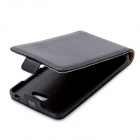 LE828 Protective Genuine Leather + PU Top-open Case for Nokia Lumia 820 - Black