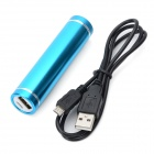 Cylinder-Shaped External 2600mAh Emergency Power Battery Charger for Cell Phone / MP3 / MP4 - Blue