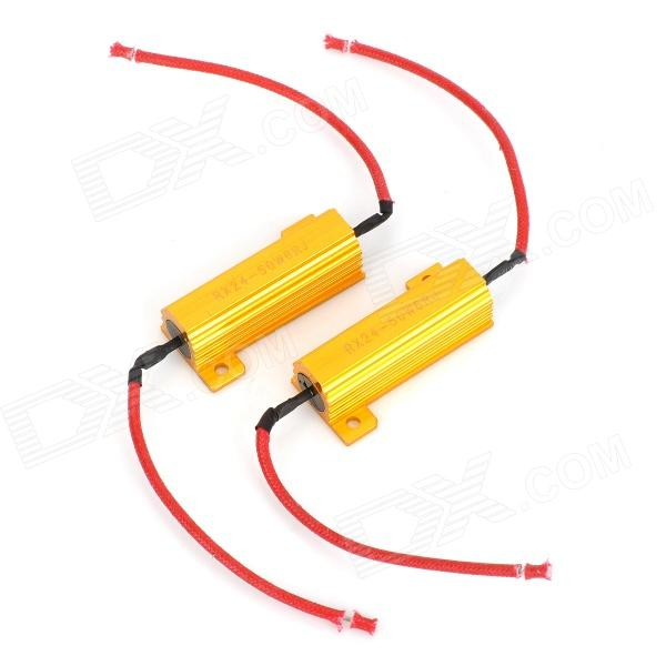50W 6RJ LED Decoder for Car Light - Golden + Red (12V / 2 PCS)
