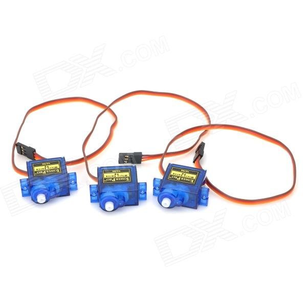 TowerPro SG90 Mini Plastic Gear Steering Servo (3 PCS Set)Repair Parts and Tools<br>Model:Form  ColorBlueMaterial:Packing List<br>