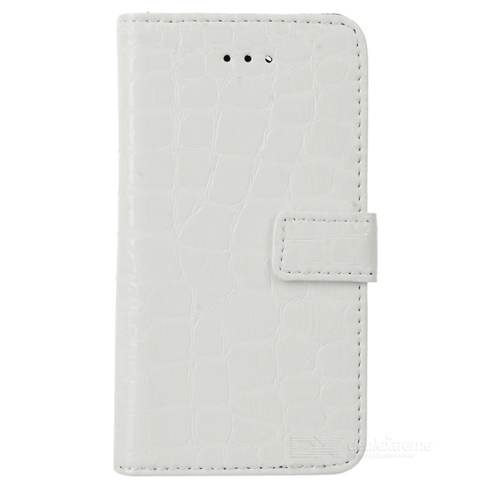 Crocodile Pattern Protective Flip-open PU Case w/ Holder + Card Slots for Iphone 5 - White