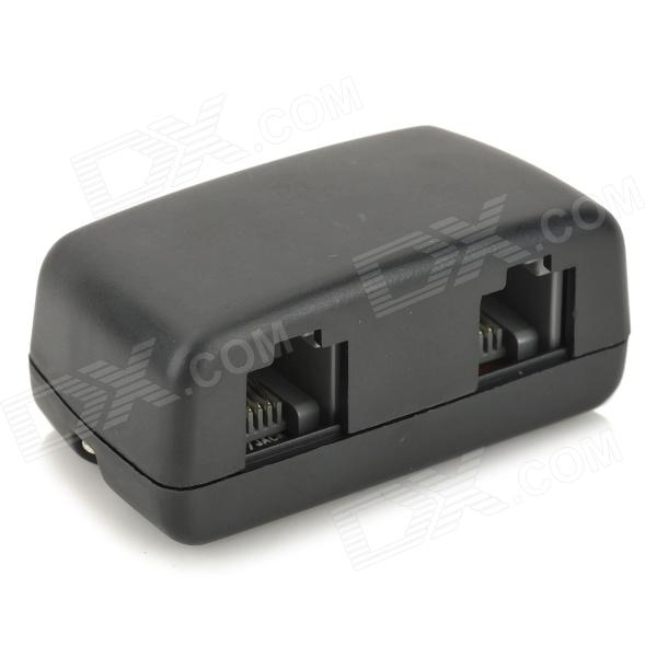 RJ11 Telephone Line Pass-Thru 3.5mm Recording/Line-out Adapter - Black