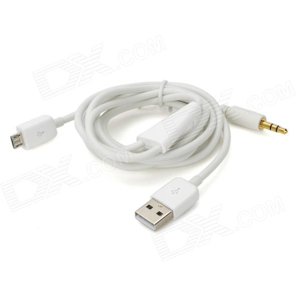 2 In 1 35mm Car Aux Audio Micro USB Charger Cable For Samsung HTC