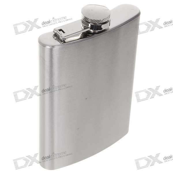 Stainless Steel Curved Pocket Liquor Hip Flask - Silver (8.0 oz)