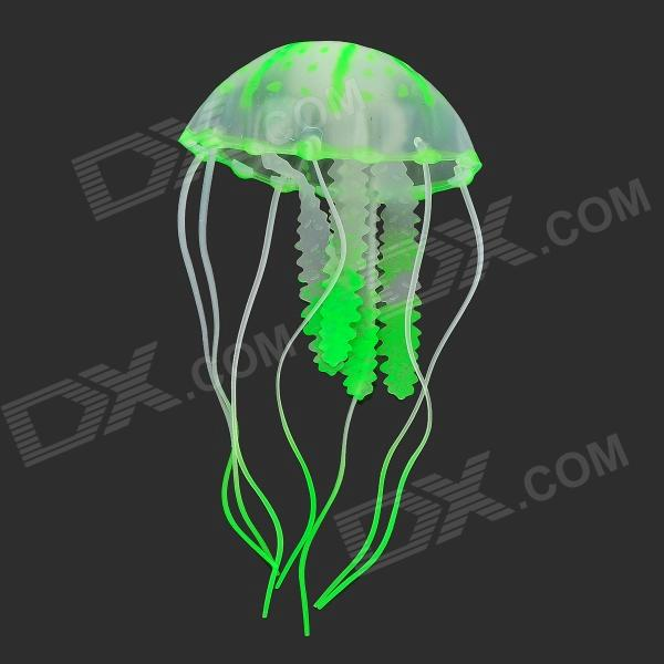 Emulation Small Jellyfish for Aquarium - Green + TransparentPet Fish Zone<br>ModelNMaterialSiliconeForm  ColorGreenQuantity1Other FeaturesLengthPacking List<br>