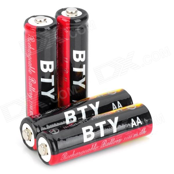 "BTY Rechargeable 1.2V ""3100mAh"" AA Battery - Black + Red (4PCS)"
