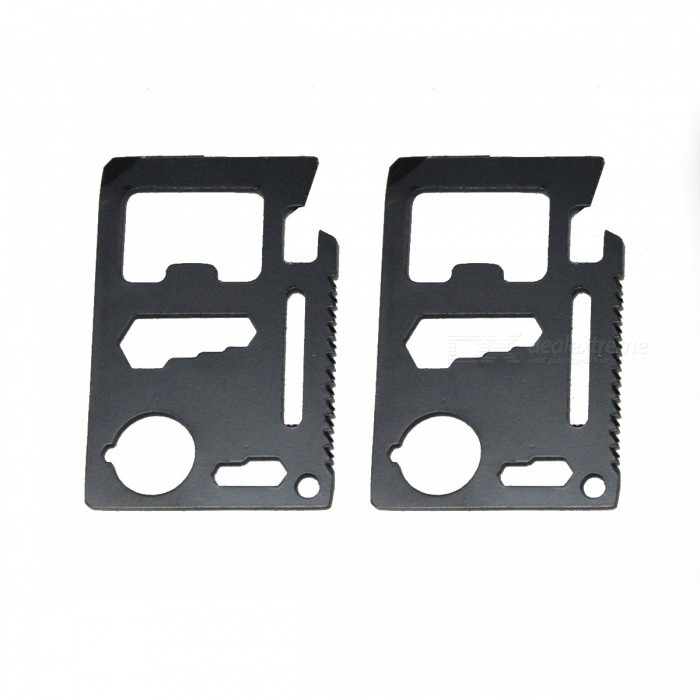 Multi-function Stainless Steel Card Style Tool Kits - Black (2PCS)