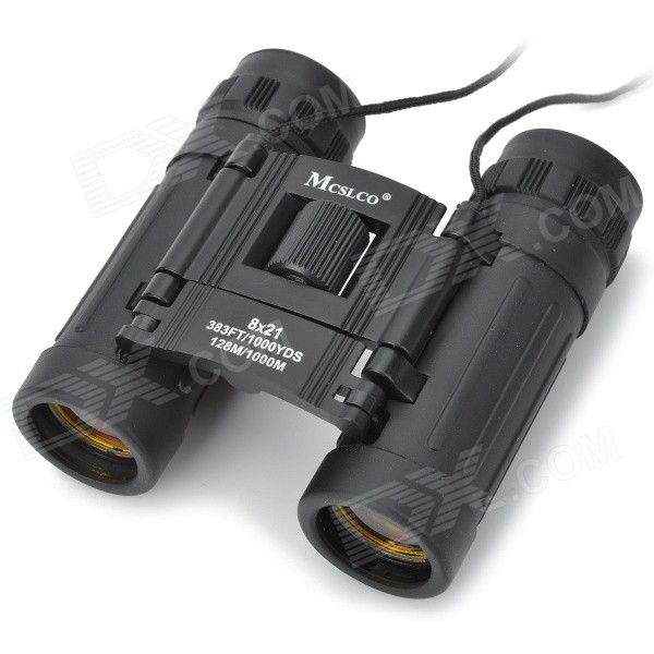 Handy 8*21 Binoculars Rubber Fold-down Eyecups - Black (383FT/1000YDS)