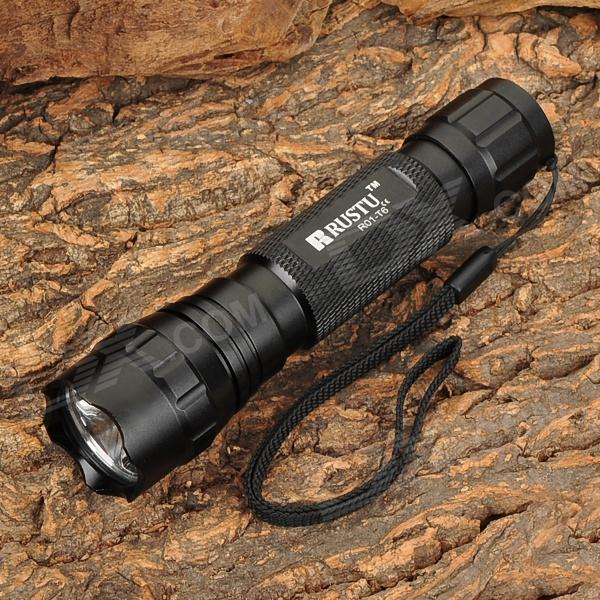 RUSTU R01-T6 800lm 5-Mode White Flashlight w/ XM-L T6 (1*18650)18650 Flashlights<br>BrandRustuModelR01-T6Quantity1 DX.PCM.Model.AttributeModel.UnitForm  ColorBlackMaterialT6063 T6 aviation aluminumOther FeaturesWaterproofEmitter BrandCreeLED TypeXM-LEmitter BINT6Number of Emitters1Color BINCold WhiteWorking Voltage   4.2 DX.PCM.Model.AttributeModel.UnitPower Supply1 x 18650 battery (not included)Current2 DX.PCM.Model.AttributeModel.UnitActual Lumens800 DX.PCM.Model.AttributeModel.UnitRuntime3 DX.PCM.Model.AttributeModel.UnitNumber of Modes5Mode ArrangementHi,Mid,Low,Fast Strobe,SOSMode MemoryNoSwitch TypeReverse clickySwitch LocationTailcapLensOthers,Toughened optical glassReflectorAluminum SmoothBeam Range200 DX.PCM.Model.AttributeModel.UnitStrap/ClipStrap includedCertificationCEPackingOutput(lumens)501-800Runtime(hours)2.1-3Packing List1 x Flashlight<br>