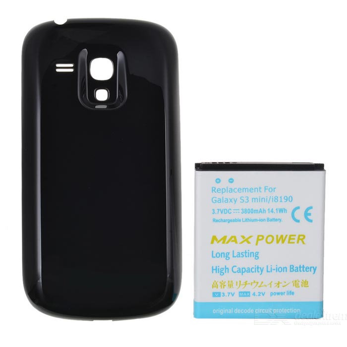 Buy Replacement 3.7V 3800mAh Battery + Black Cover Case for Samsung i8190 Galaxy S3 Mini with Bitcoin with Free Shipping on Gipsybee.com