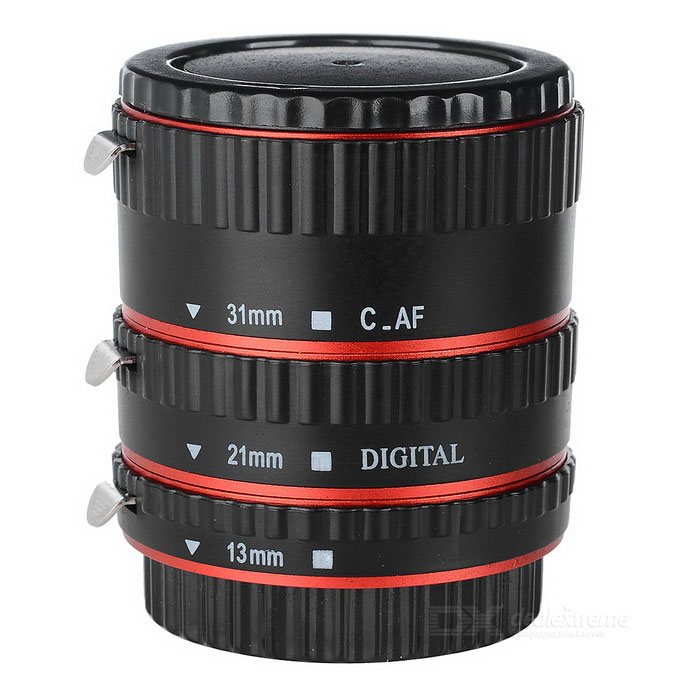 Macro Extension Tube Set 13mm / 21mm / 31mm for Canon EF & EF-S Lenses - Black + Red