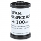 Creative Film Cartridge Style ABS Toothpick Case - White + Black
