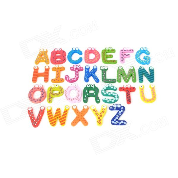 Buy 26 Latin Alphabet Shaped Wooden Fridge Magnet for Baby Early Education with Litecoins with Free Shipping on Gipsybee.com